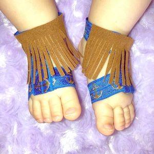 Other - ❤️Suede leather fringe barefoot sandals❤️